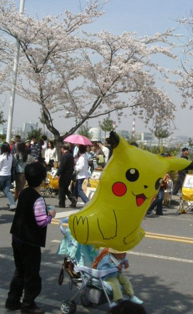 Pikachu with Cherry Blossom Backdrop